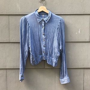 Free People blue button down cropped blouse